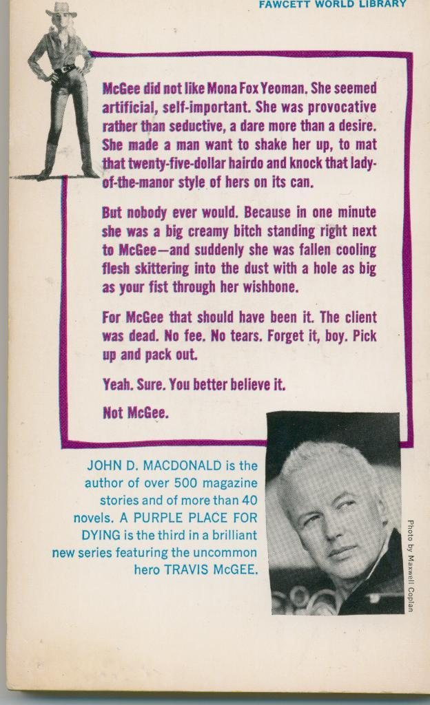 MacDonald - A PURPLE PLACE FOR DYING - 1964 - 1st Ed. - nice