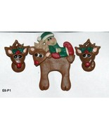 Christmas Reindeer Pin and Earrings Hand Crafted - $8.99
