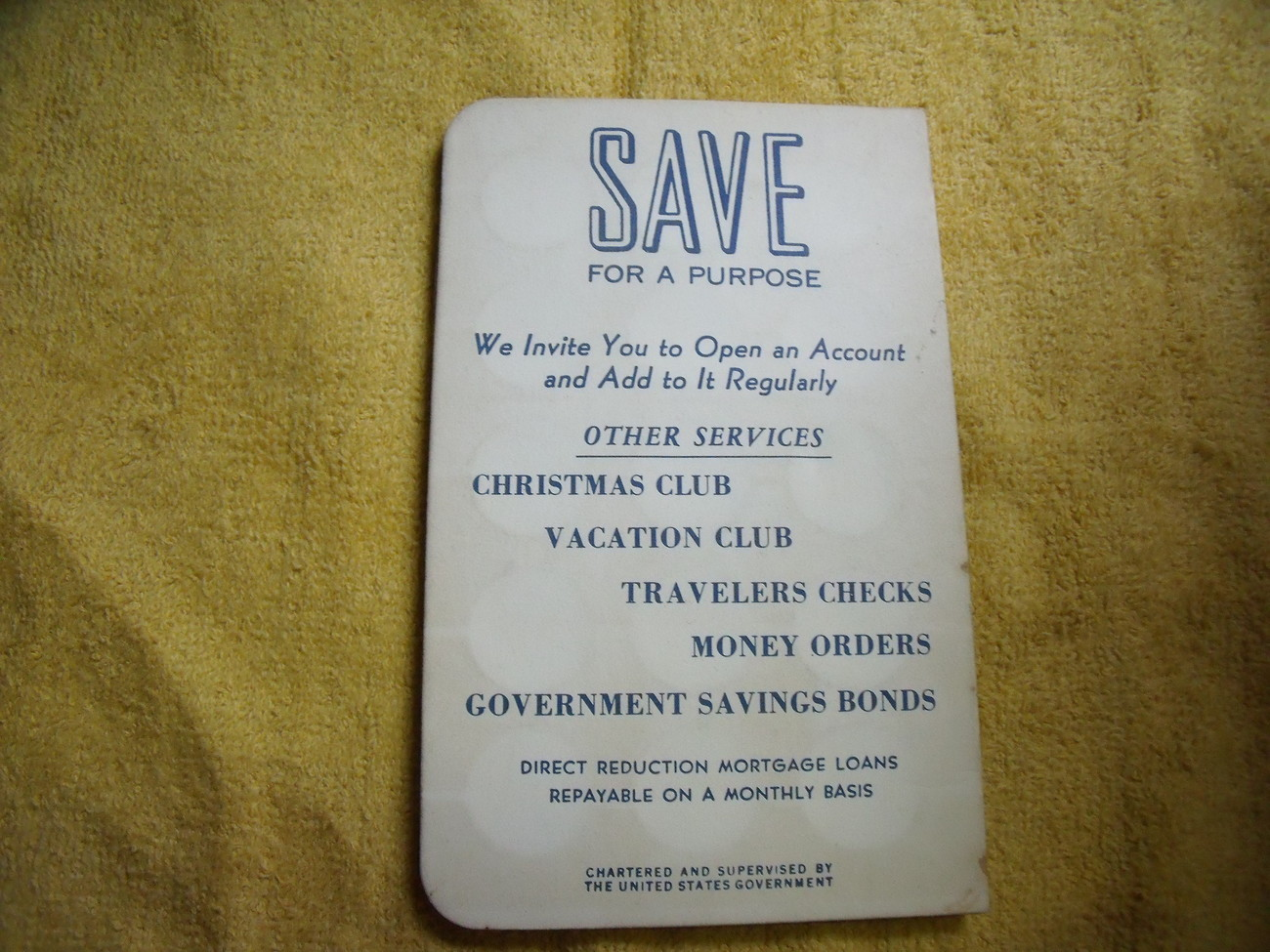 Penn Federal Savings Bank Dime Savings Card Vintage
