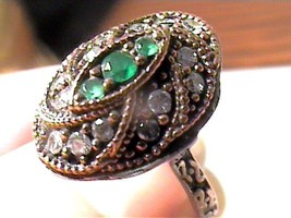 VINTAGE ANTIQUE emerald SILVER RING 8 MEDIEVAL SAPPHIRE STERLING 925 DEL... - $60.60