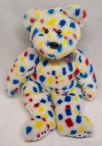 "TY Beanie Buddy 1999 MULTI-COLORED POLKA DOT TEDDY BEAR 13"" STUFFED ANIM... - $18.32"
