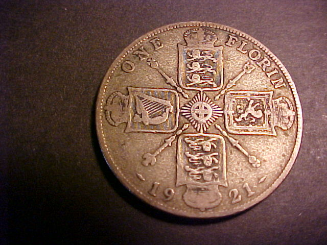 1921 SILVER BRITISH ONE FLORIN COIN