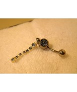 BELLY NAVEL RING BLUE TOPAZ CRYSTAL CHAIN #689C - $7.99