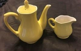 Buttercup Federalist Ironstone Yellow Coffee Pot/ Teapot & Creamer A+ Co... - $37.62