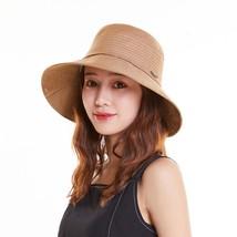 Khaki Summer Bucket Women Panama Cap Wide Brim Lady Sun Hat Female Bucke... - $46.46