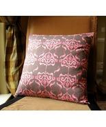Handmade romantic designer fabric pillow cover. Taupe/pink.  - $19.95