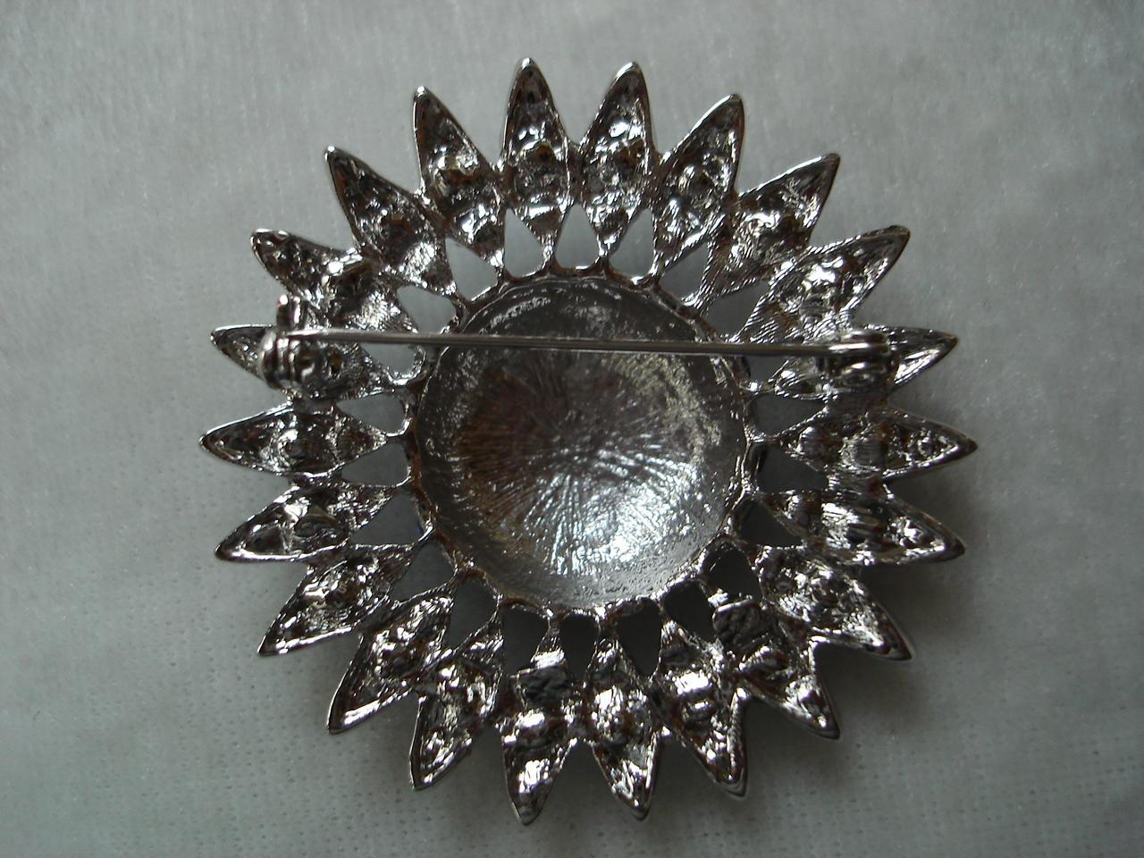 Silvertone Sunflower Sapphire Rhinestone Brooch