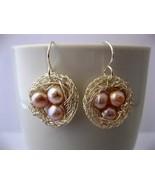 Bird Nest Blush Pearl Earrings Handmade by Chula - $32.00