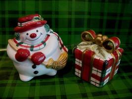 Fitz and Floyd Plaid Christmas Snowman Salt and Pepper Shaker Set Xmas Gift - $14.95