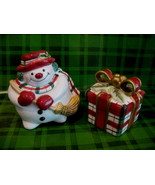 Fitz and Floyd Plaid Christmas Snowman Salt and Pepper Shaker Set Xmas Gift - $14.95