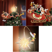 Disney Christmas Tree Top Ornament Mickey & Friends Rotating Sleigh LED ... - $226.98