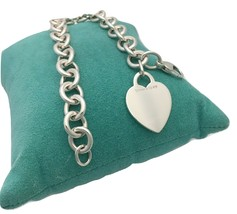 * Tiffany & Co Sterling Silver Blank Heart Tag Bracelet - $125.00