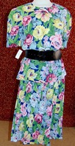 LESLIE FAY VINTAGE 80s green floral polyester peplum dress 8 (TC2-03F8G) - $19.78