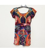 Angie Womens Mini Dress Size L Multicolor Short Sleeve Sheath Back Keyhole - $17.91
