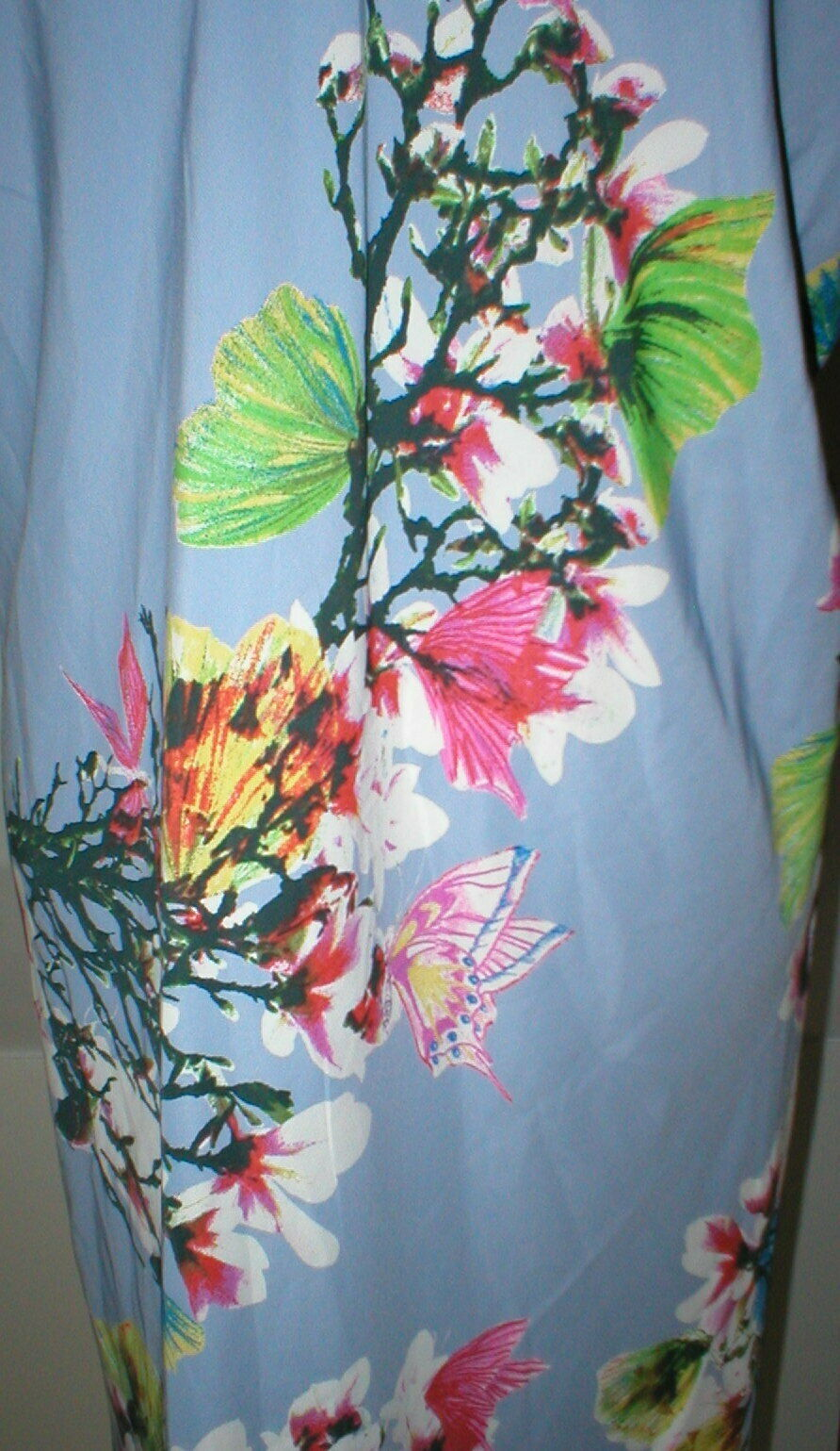 NWT New Designer Natori Womens XL Night Gown Silky Light Blue Pink White Flower image 6