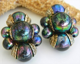 Vintage Faux Carnival Glass Bead Clip Earrings Iridescent Peacock Blue - $24.95