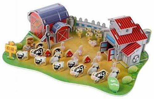 PANDA SUPERSTORE Stereoscopic 3D Happy Ranch Paper Puzzle Children's Educational