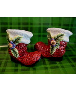 Fitz and Floyd Christmas Santa Claus Boots Salt and Pepper Shakers Set  - $14.95