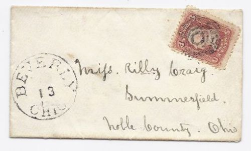 c1863 Beverly OH Vintage Post Office Postal Cover