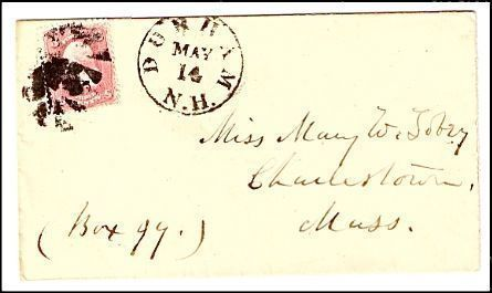 Primary image for c1862 Durham NH Vintage Post Office Postal Cover