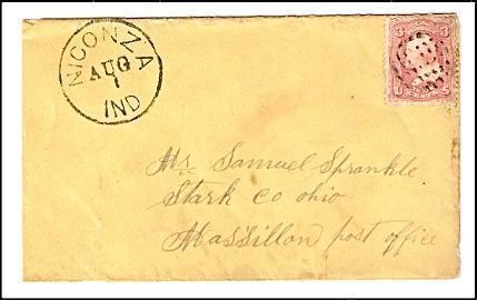 c1862 Niconza IN Discontinued/Defunct Post Office Postal Cover