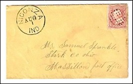 c1862 Niconza IN Discontinued/Defunct Post Office Postal Cover - $9.95