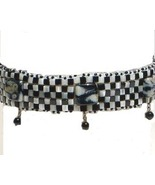 Black Onyx, Mother of Pearl , & Lamp Work Choker Necklace Black & White - $168.99