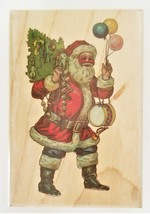 """Stampabilities """"Vintage Santa with Balloons"""" on Wooden Block"""