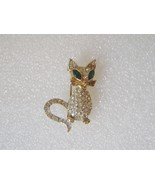 Sphinx of England Gold Plated Cat Brooch Pin with rhinestones Signed Sph... - $15.00