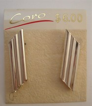 Vintage eighties Coro silver tone earrings still on the original card - $10.00