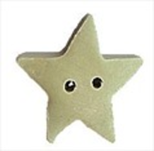 "Medium Pale Sage Star 3463m handmade clay button .44"" JABC Just Another ... - $1.40"