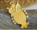 Vintage owl pendant gold tone rhinestone wings eyes movable thumb155 crop