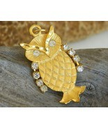 Vintage Owl Pendant Gold Tone Rhinestone Wings Eyes Movable - £14.67 GBP