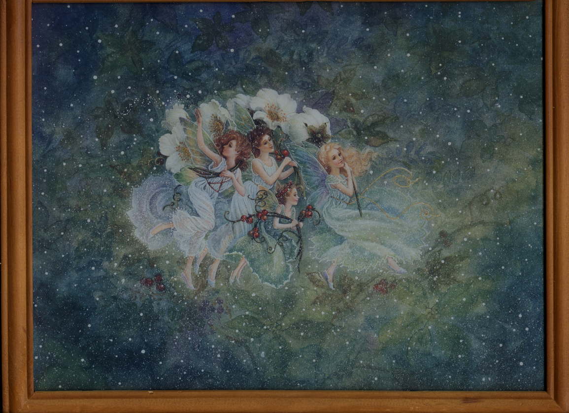 Gorgeous Fairies Dancing in Snow w/ flowers and berries