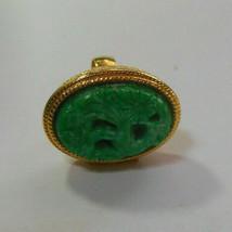 Vintage Avon Carved Faux Jade Bird of Paradise Locket Ring Size 5 - $34.65