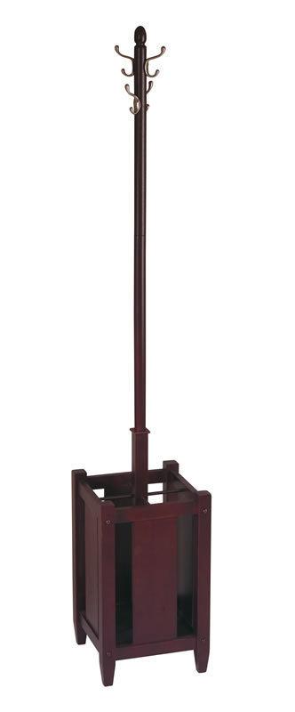 Dark Espresso Brown Finish Wood Coat Hat Rack Umbrella Stand - ES13 OSP