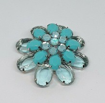 Vintage Blue Rhinestone Lucite Silver Tone Unbranded 3D Flower Brooch Pin EUC - $13.09