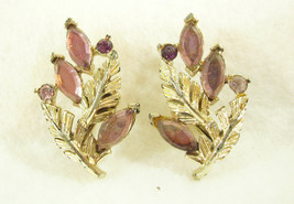Coro Leaves Amethyst Rhinestone Marquise Cut Clip Earrings Vintage Gold ... - $13.81