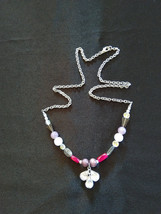 Crown Chakra Gemstone Necklace with Vintage Glass Gem Piece - $26.95