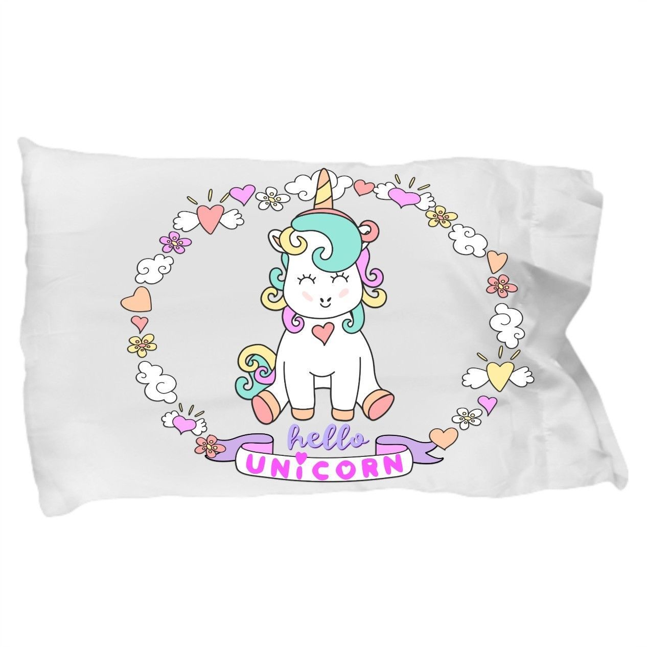 Unicorns Gift Bedding Pillowcase Hello Unicorn for Daughter Granddaughter Niece - $19.11