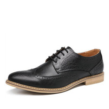 Handmade Men's Black Leather Tan Sole Wing Tip Brogues Dress/Formal Oxford L image 1