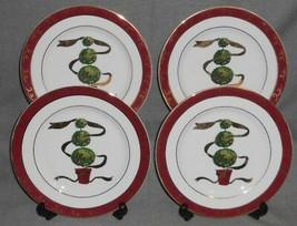 Set (4) Macy's The Cellar HOLIDAY TOPIARY PATTERN Salad Plates CHRISTMAS... - $24.74