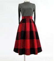 BLACK PLAID Midi Skirt Women Classy Winter Long Plaid Skirt Outfit Plus Size  image 8