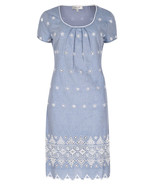 MARKS & SPENCER By PER UNA Chambray Embroidered Shift Dress BNWT - $57.64