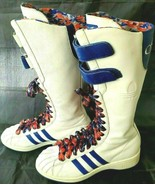 ADIDAS MISSY ELLIOT REMIX WHITE LEATHER THREE STRIPE TALL BOOTS SHOE SIZE 6 - $62.84