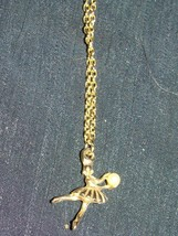 Vtg 1970s BALLERINA DANCER Holding Faux Pearl Gold Tone Child's Pendant Necklace - $4.00