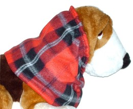 Red Black White Plaid Fleece Dog Snood by Howlin Hounds Bloodhound Size XL - $13.50