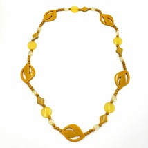 Yellow Mustard Clear Silver Plastic Bead Necklace - $24.75