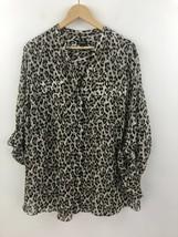 Jones New York Button Up Front Shirt Top Womens 3X Leopard Brown Roll Ta... - $14.44