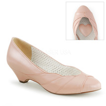 """PINUP COUTURE Lulu-05 Series 1 1/2"""" Kitten Wedge Pumps - Baby Pink Faux ... - $39.95"""